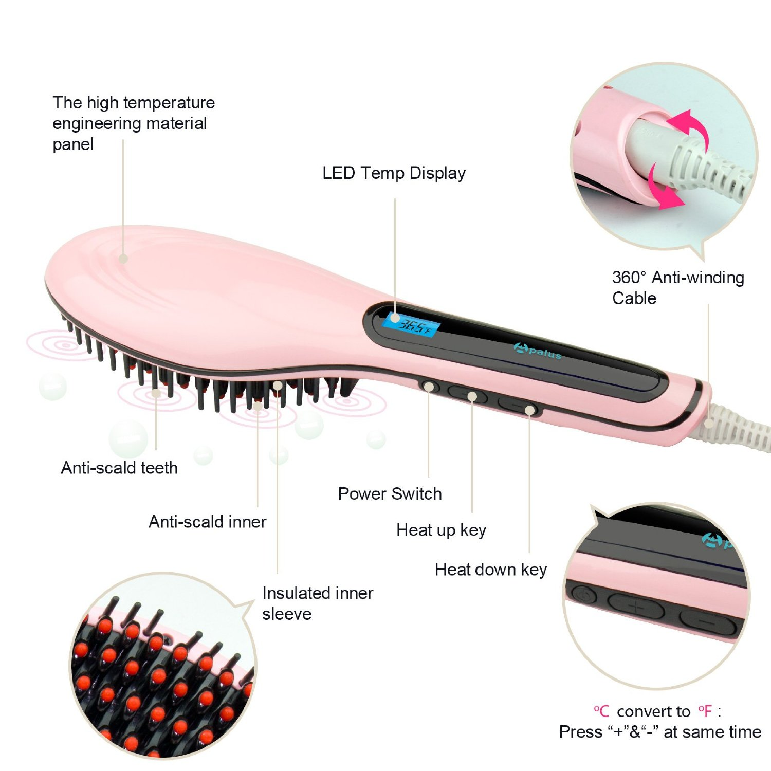 Apalus Hair Straightening Brush Pink